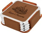 Leatherette Square Coaster Set with Silver Edge -Dark Brown Sales Awards